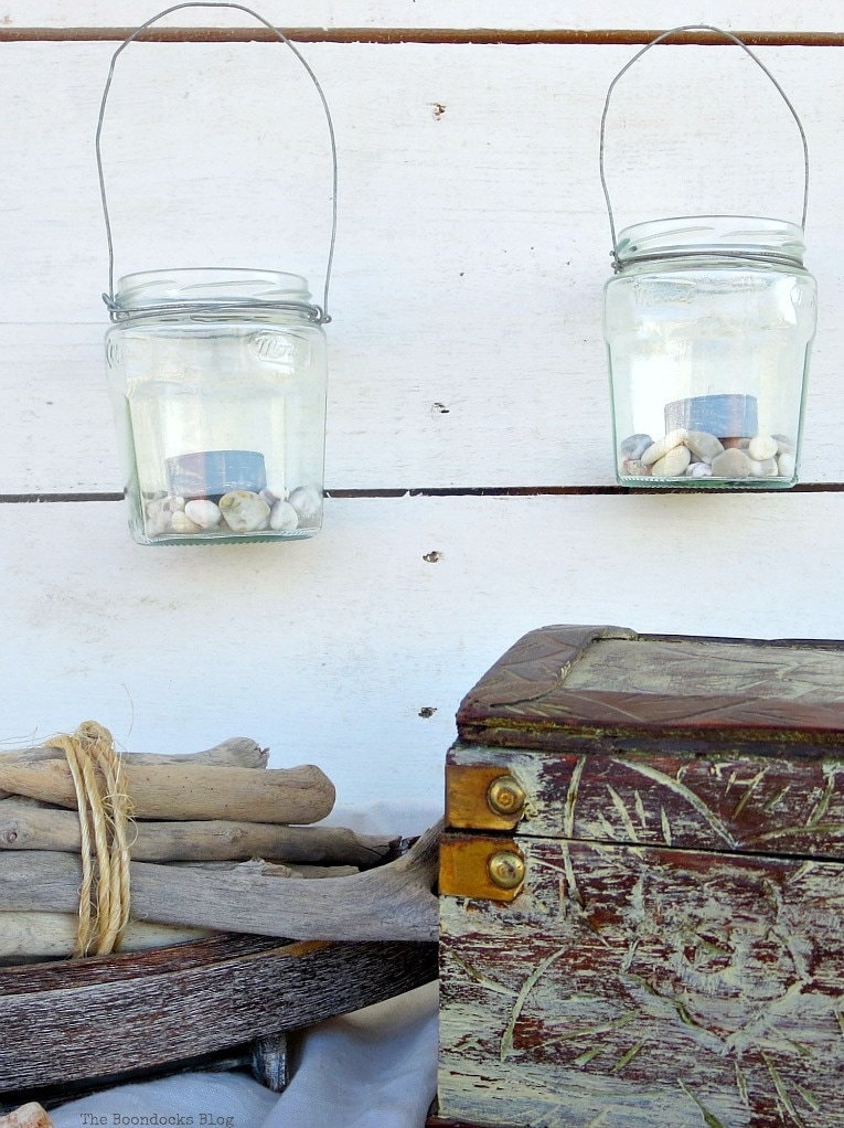 hanging tea light lantern jars, #easycraft #repurposedjars #tealightlanterns #fastcraft #DIYlanternlights #wireproject How to make Simple Lanterns with Repurposed Jars, www.theboondocksblog.com