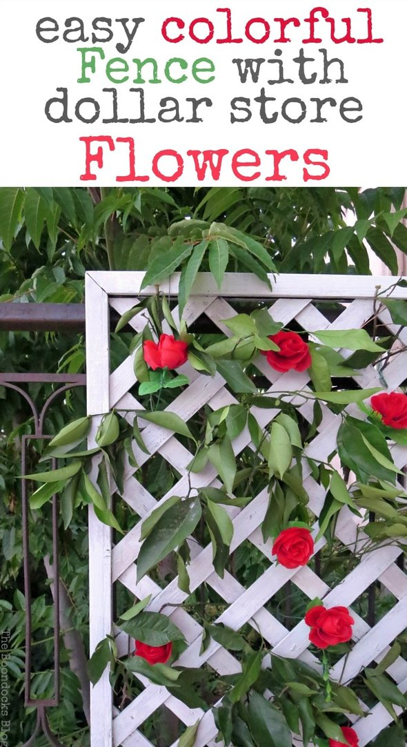Corner view of lattice flower wall with red roses and greenery, under text overlay.