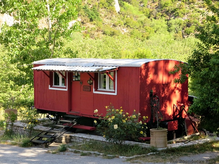 repurposed train car, A Road Trip on the Way to the Mountains, www.theboondocksblog.com