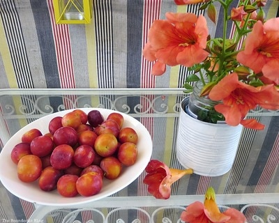 A bowl of cherry tomatoes next to a red flowers.