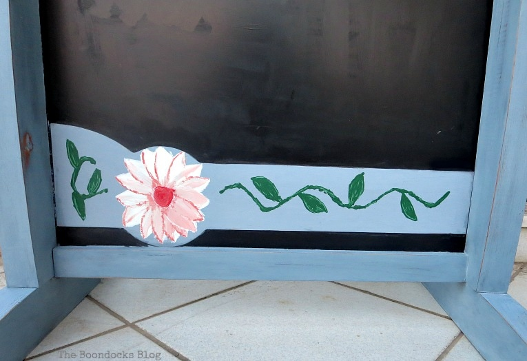 flower design on plastic piece on the bottom, How to Give New Life to a Chalkboard Stand www.theboondocksblog.com