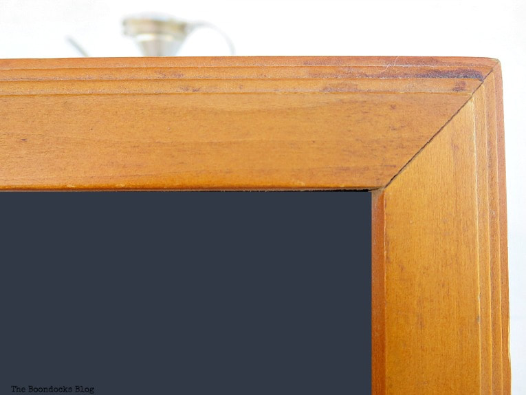 wooden picture frame, before, How to Easily Clean Wood with Just 2 Ingredients www.theboondocksblog.com