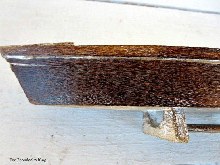 wood miniature sailboat, after mixture, How to Easily Clean Wood with Just 2 Ingredients www.theboondocksblog.com