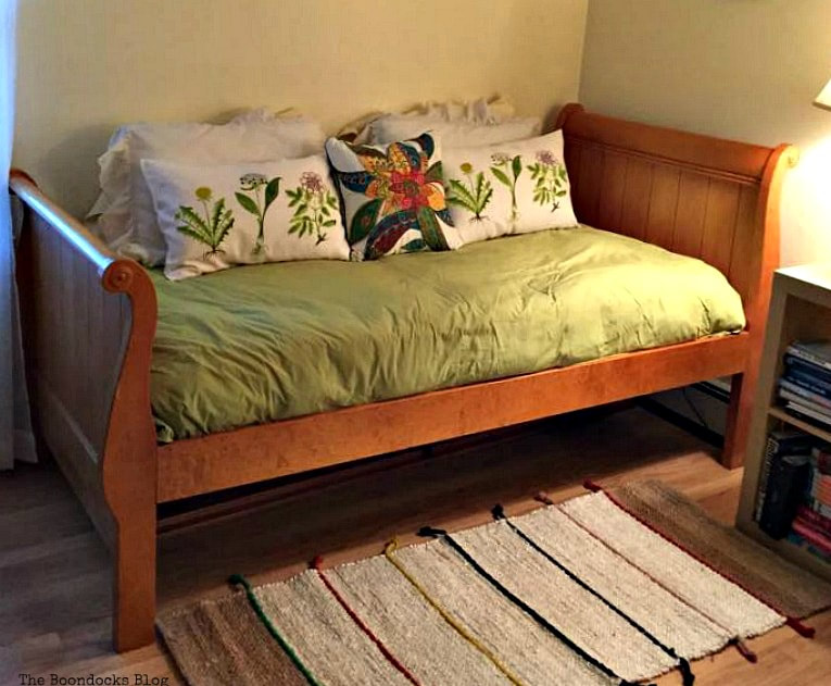 Headboard and bed, after treatment with mixture, How to Easily Clean Wood with Just 2 Ingredients www.theboondocksblog.com