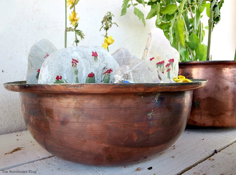 rock garden in copper bowl, How to Upcycle Vintage Copper Pots the Wrong Way www.theboondocksblog.com