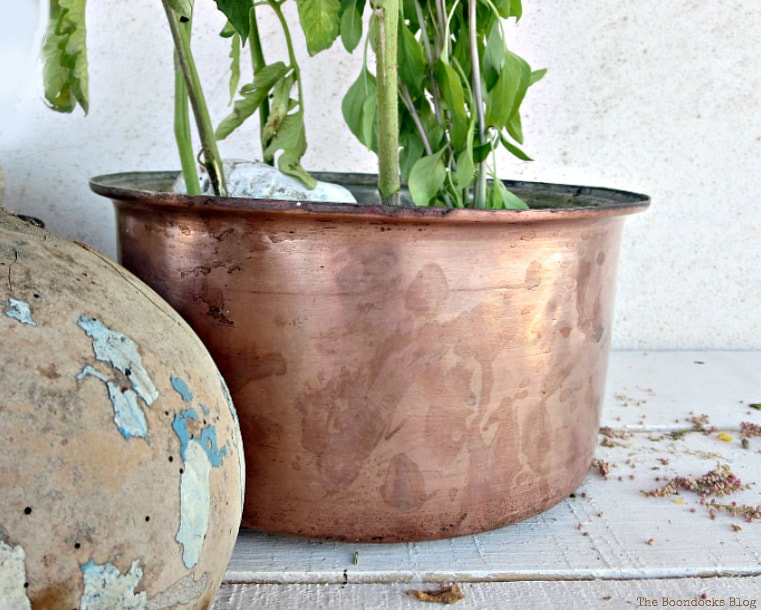 copper pot as planter, How to Upcycle Vintage Copper Pots the Wrong Way www.theboondocksblog.com