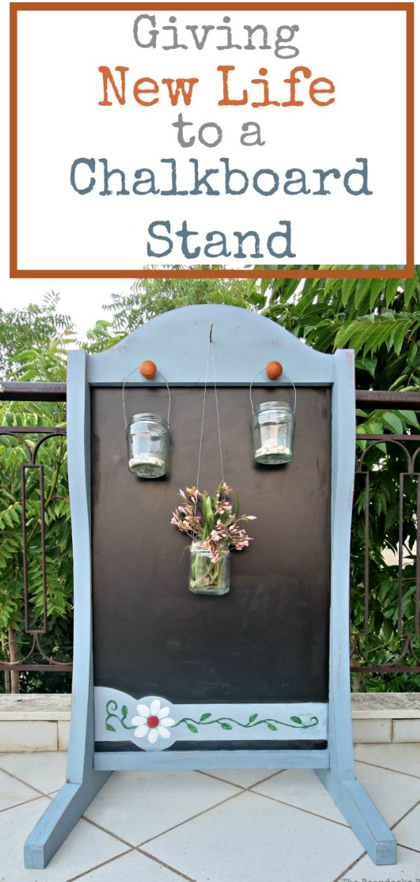 How to Give new life to an old chalkboard stand, with OFMP, Chalkboard paint, wax, Upcycling it by adding painted flowers and knobs and hooks to hang tea lights and wreaths, #OFMP #Milkpaint #chalkboard #chalkboardmakeover #upcycle #paintedchalkstand How to Give New Life to a Chalkboard Stand www.theboondocksblog.com