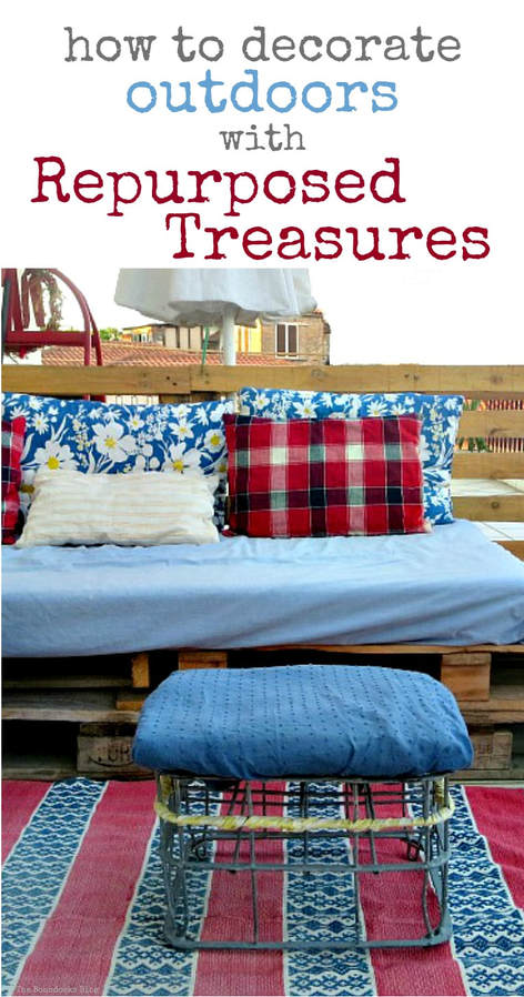 By using items you have at home and repurposing or upcycling them into treasures, you can decorate your outdoor space or balcony, How to Decorate a Balcony with Re-Purposed Treasures, www.theboondocksblog.com