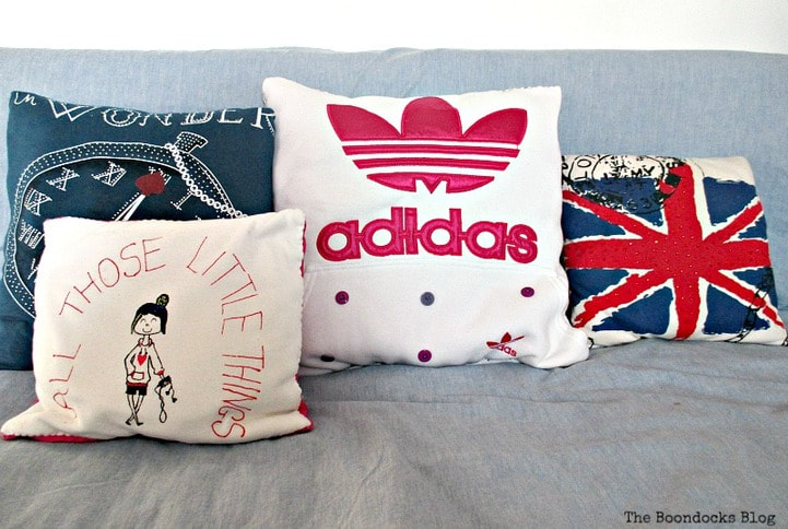 Repurposed t-shirts and hoodies into Pillows, 16 Fun and Easy Back to School DIY Gift Ideas www.theboondocksblog.com