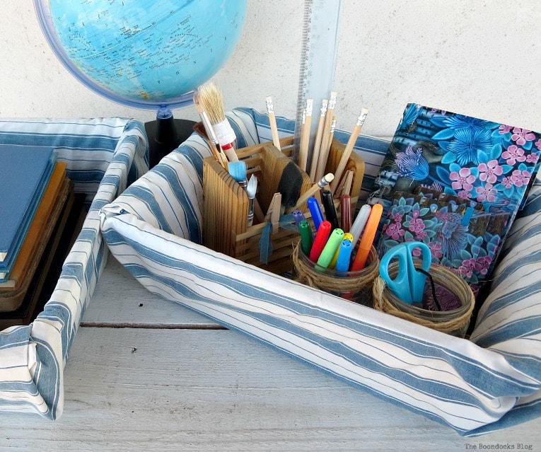 school supplies in basket, How to Easily Upcycle Broken Plastic Baskets www.theboondocksblog.com