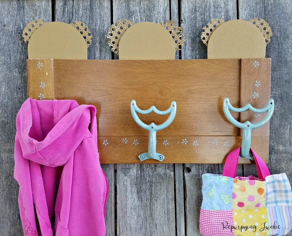Coat rack from Repurposing Junkie, 16 Fun and Easy Back to School DIY Gift Ideas www.theboondocksblog.com