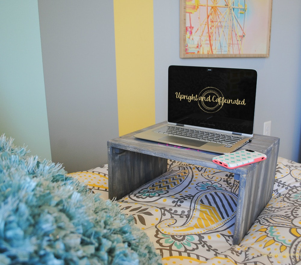 Laptop Table from Upright and Caffeinated, 16 Fun and Easy Back to School DIY Gift Ideas www.theboondocksblog.com