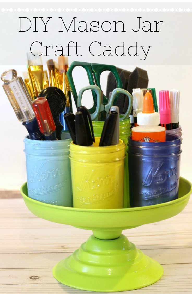 DIY Mason Jar Craft Caddy from My Husband Has too Many Hobbies, 16 Fun and Easy Back to School DIY Gift Ideas www.theboondocksblog.com