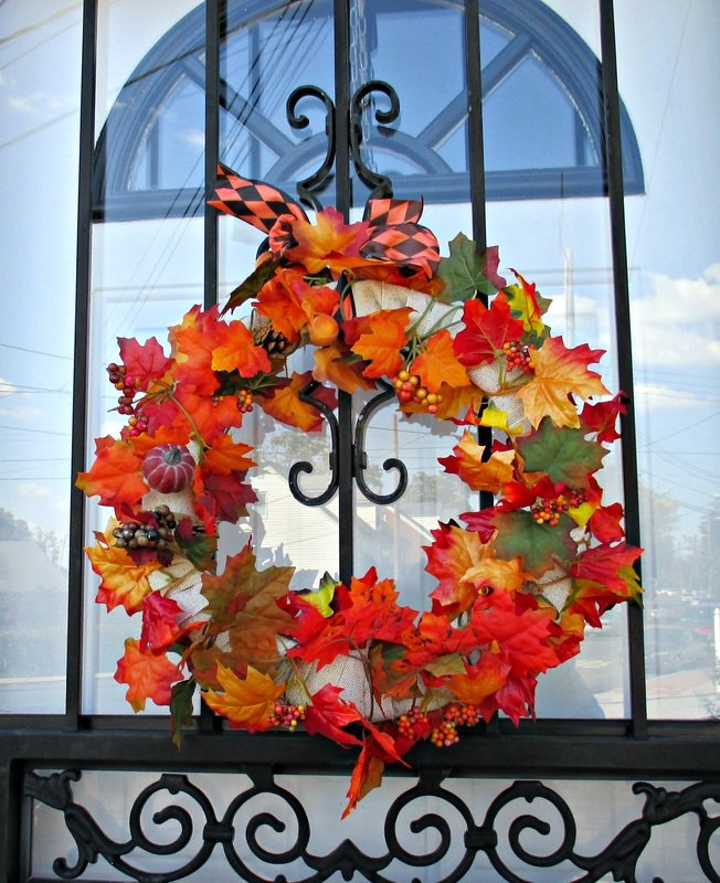 wreath on door, My Obligatory Post in Praise of Autumn www.theboondocksblog.com