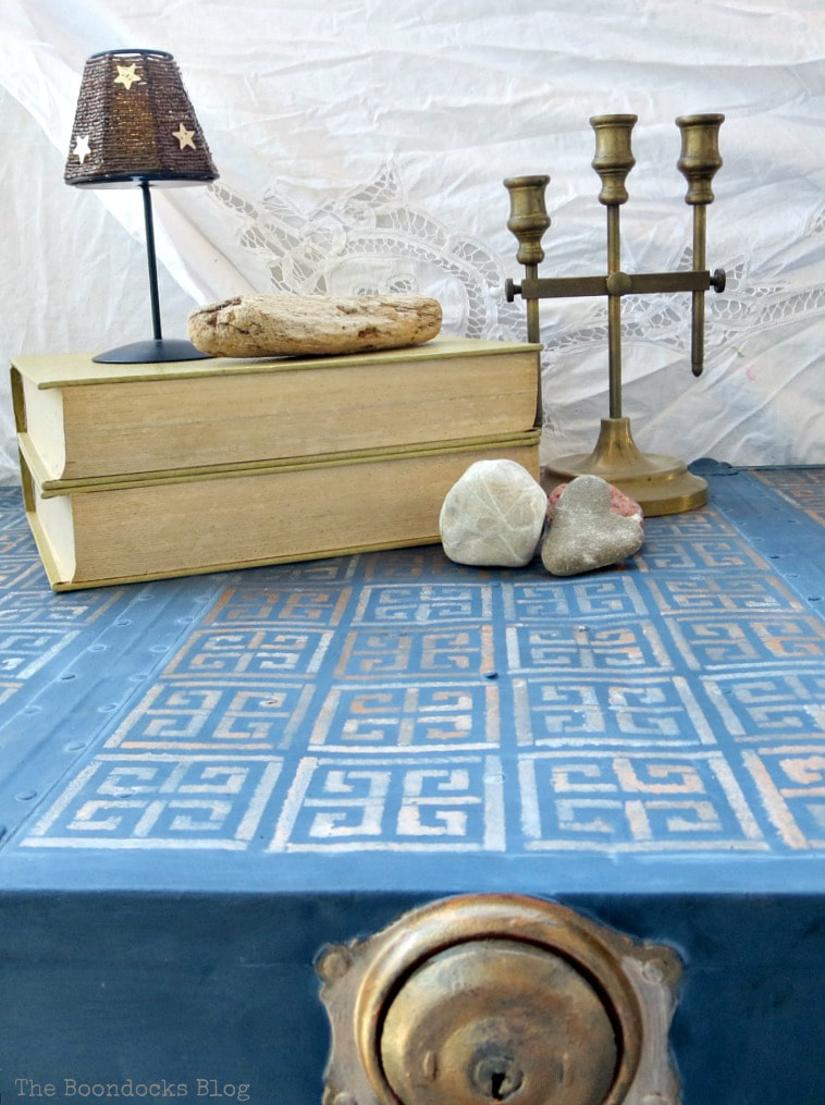 color variations on stencil, How to Avoid Mistakes when Up-cycling a Trunk www.theboondocksblog.com