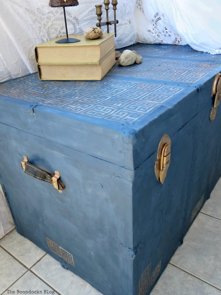 painted trunk with milk paint and stencil, How to Avoid Mistakes when Up-cycling a Trunk www.theboondocksblog.com
