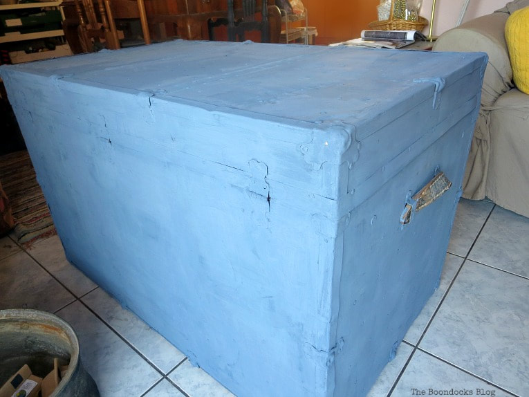three coats of milk paint, How to Avoid Mistakes when Up-cycling a Trunk www.theboondocksblog.com