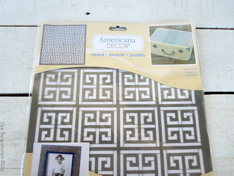 Americana Greek Key Stencil, How to Avoid Mistakes when Up-cycling a Trunk www.theboondocksblog.com
