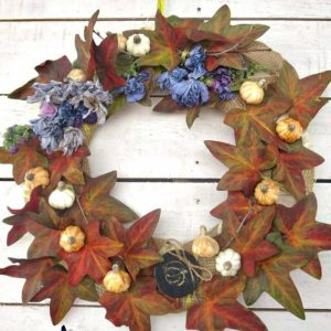 Fall wreath made with upcycled dollar store vine.