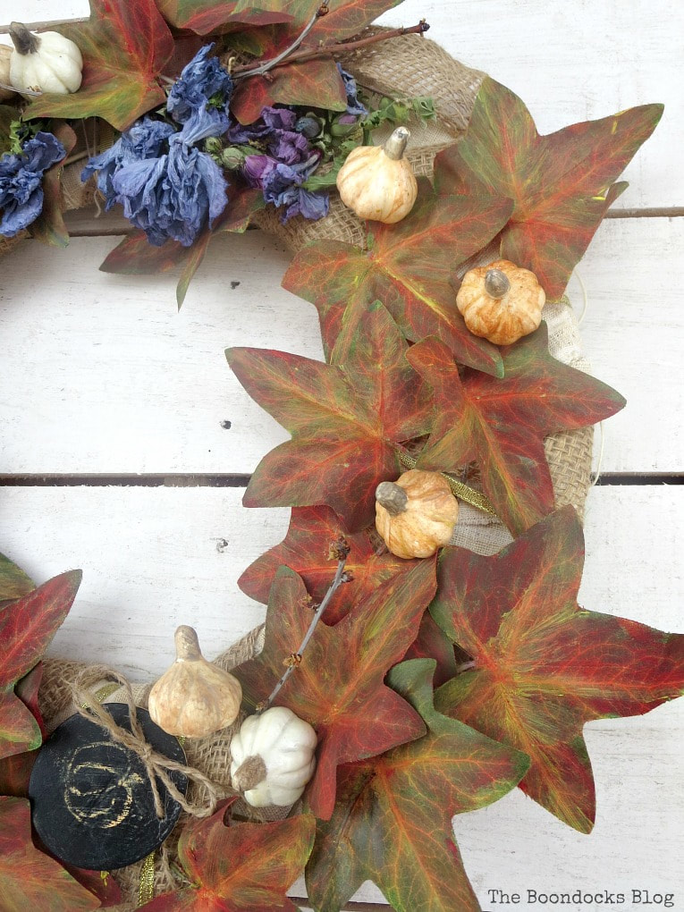 detail of fall wreath, How to Make a Beautiful Dollar Store Fall Wreath www.theboondocksblog.com