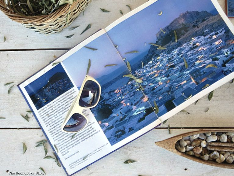 Sunglasses on a book, What I Love Best about Greece www.theboondocksblog.com