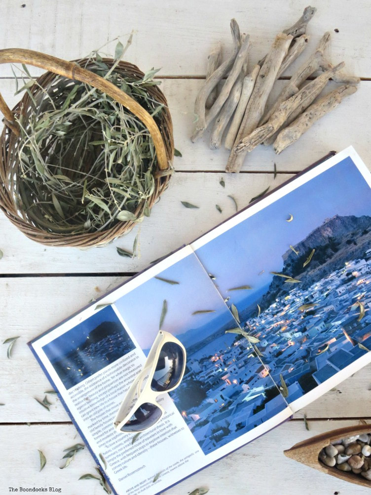 olive branches, driftwood and book about Greece, What I Love Best about Greece www.theboondocksblog.com