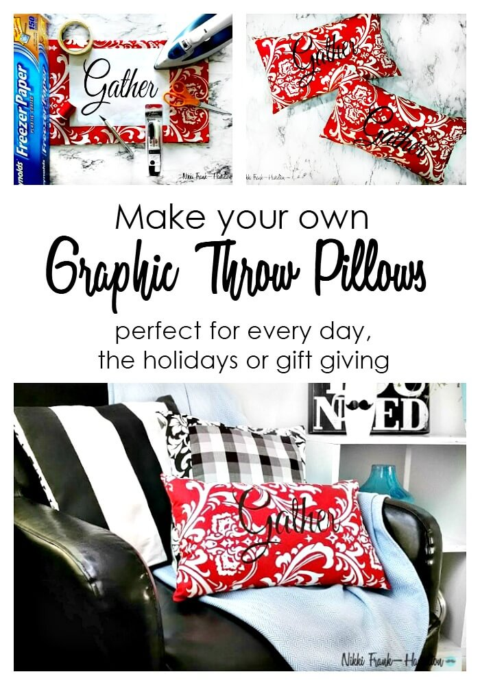 A step by step tutorial on how to make your own DIY graphic pillow without fancy machinery quickly and easy using a few supplies. DIY Graphic Pillow - With Or Without a Sewing Machine, theboondocksblog