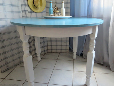 blue and white table made over with chalk paint