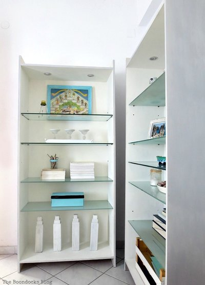 bookcases upcycled with milk paint