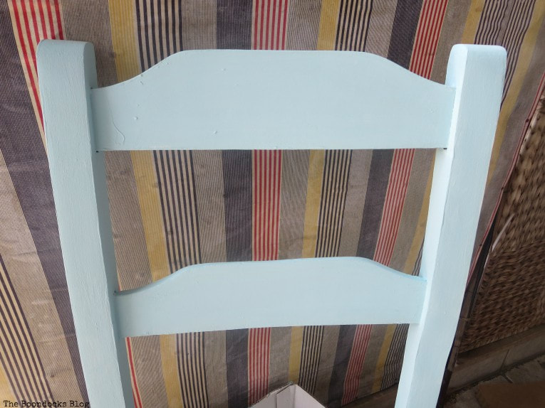 chair painted blue on top of white, How to Make a Cool Kitchen Organizer from a Chair www.theboondocksblog.com