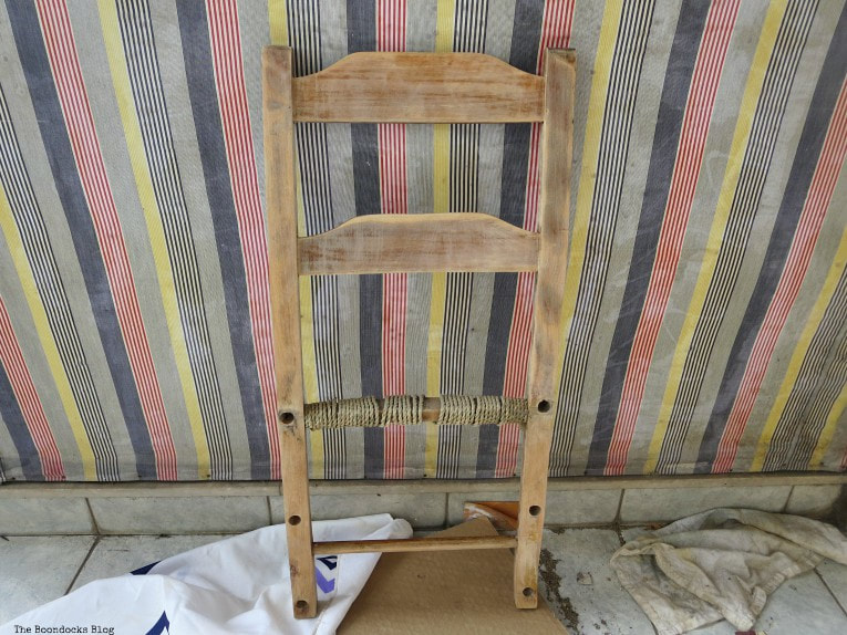 back of chair sanded, How to Make a Cool Kitchen Organizer from a Chair www.theboondocksblog.com