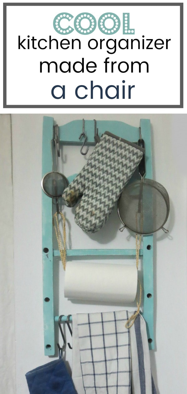A wall hung kitchen organizer repurposed from the back of a chair to hold towels, gloves, utensils and paper towel roll, #repurposedchair #chairmakeover #kitchenorganizer #chairback #upcycledchair #repurposedfurniture How to Make a Cool Kitchen Organizer from a Chair www.theboondocksblog.com