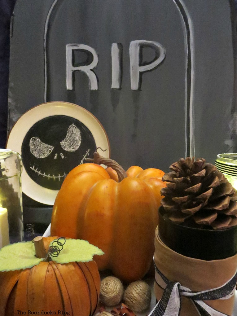 close-up of gravestone, How to Make an Easy and Thrifty Halloween Vignette www.theboondocksblog.com