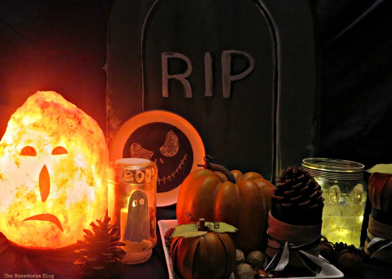 Halloween vignette all lit up, How to Make an Easy and Thrifty Halloween Vignette www.theboondocksblog.com