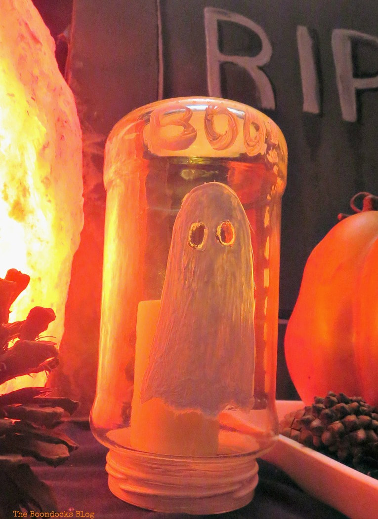 Little BOO ghost, How to Make an Easy and Thrifty Halloween Vignette www.theboondocksblog.com