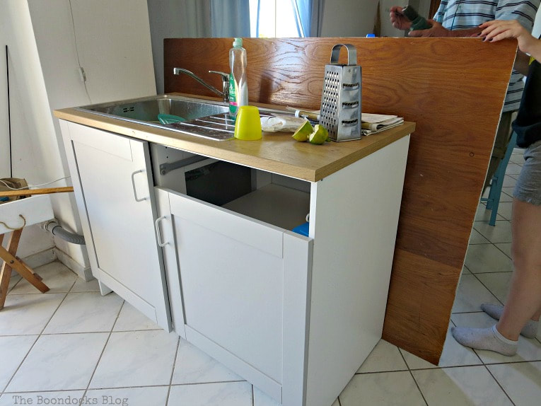 Adding backing for the sink cabinet, How to Install a New Kitchen with the Help of Murphy's Law, www.theboondocksblog.com