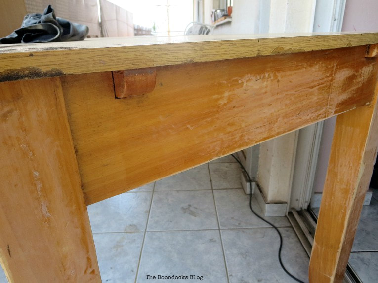 sanding the table, How to Save an Old Laminate Table with Gel Stain www.theboondocksblog.com