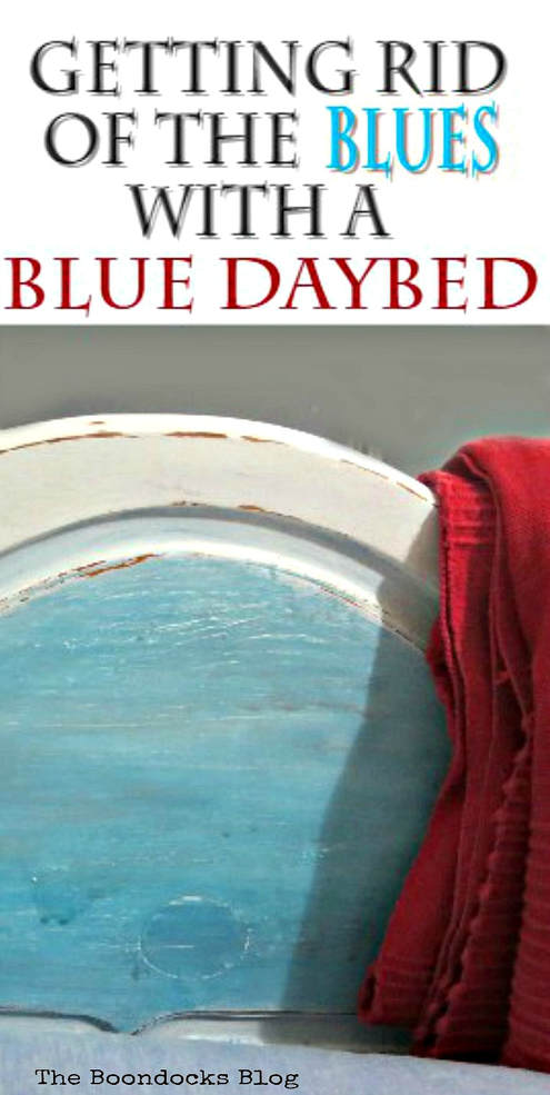how to paint a wood twin bed and turn it into a happy daybed, How to Get Rid of the Blues with a Blue Daybed www.theboondocksblog.com