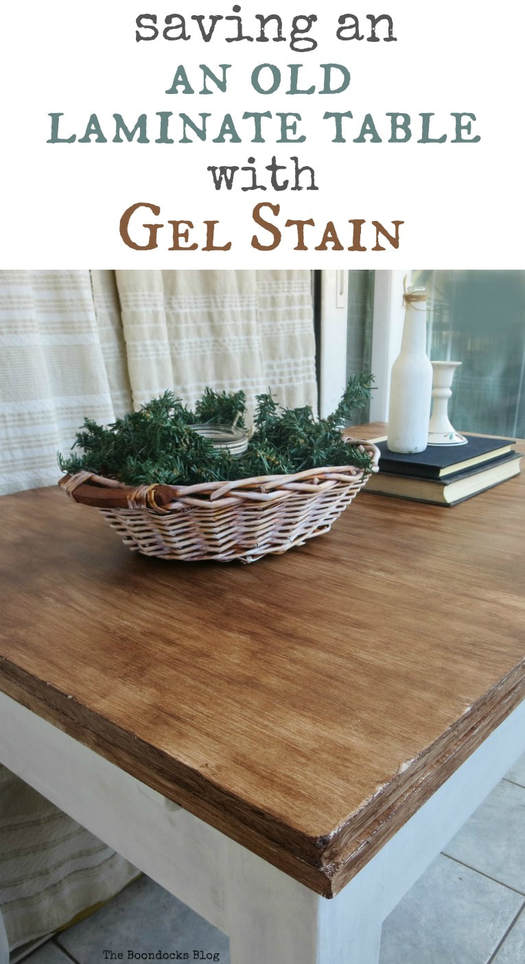 Using gel stain and chalky finish type paint I show you how to save an old laminate table and up-cycle it into a farmhouse table with charm, #laminatetable #laminatefurnituremakeover #laminatetableupcycle #furnituremakeover #gelstainedtable #farmhousestyle #chalkyfinishpaintmakeover How to Save an Old Laminate Table with Gel Stain