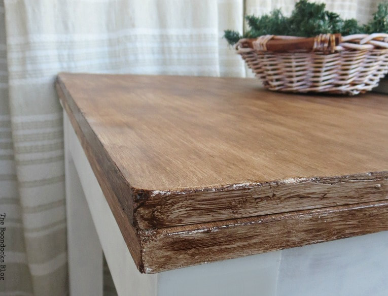 corner of the table top, How to Save an Old Laminate Table with Gel Stain www.theboondocksblog.com