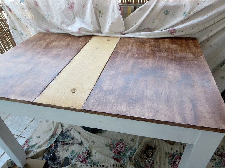 the painted leaves of the table, How to Save an Old Laminate Table with Gel Stain www.theboondocksblog.com