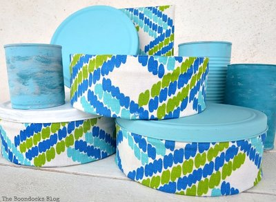 up-cycling cookie tin cans with decoupage and fabric