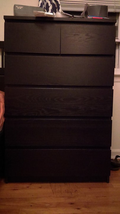 Black Ikea Malm Dresser before painting.