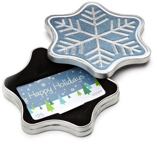 Amazon gift card in a snowflake tin, A Practical Gift Guide for the DIYer www.theboondocksblog.com