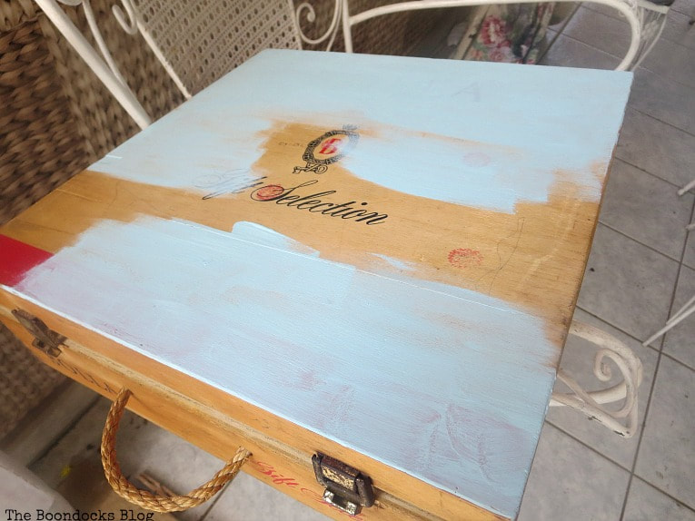 painting a wood box with chalky type paint, How to Give an