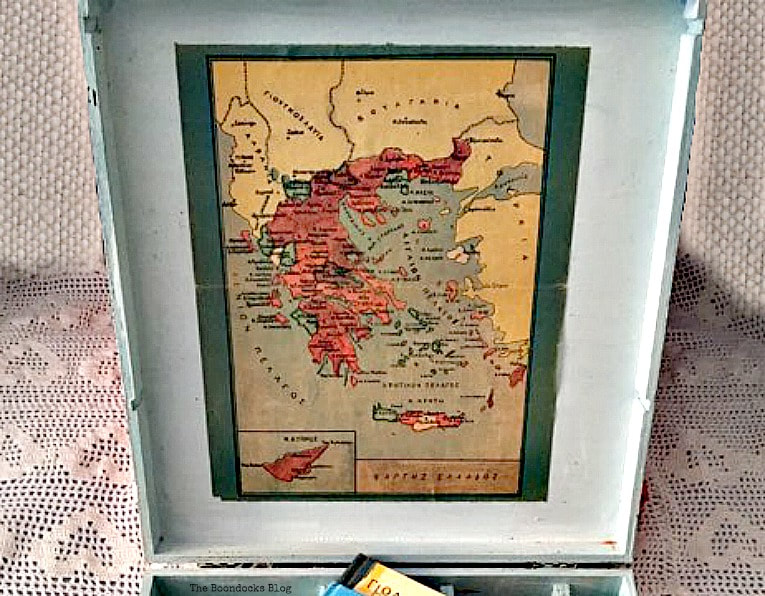 Inside top of box with decoupaged old map, How to Give an