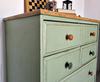 Ikea Pine Dresser painted in Olive Green with natural top