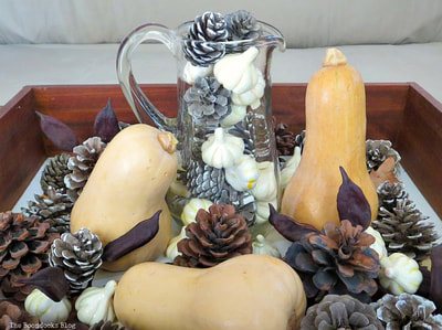 Fall Vignette with gourds and pine cones