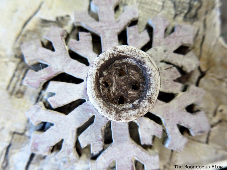 painting the snowflakes and buttons, How to Make Rustic Star Christmas Ornaments www.theboondocksblog.com