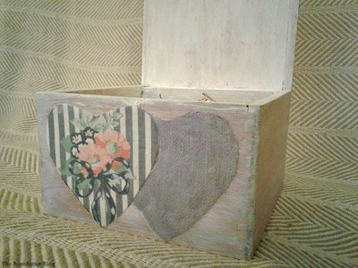 Box with fabric hearts decoupage
